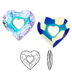 focal, swarovski crystals, crystal passions, crystal ab, 36x34mm faceted miss u heart pendant (6262). sold per pkg of 6.