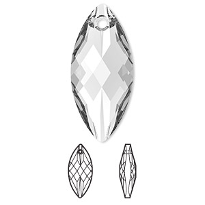 focal, swarovski crystals, crystal passions, crystal clear, 30x14mm faceted navette pendant (6110). sold per pkg of 6.