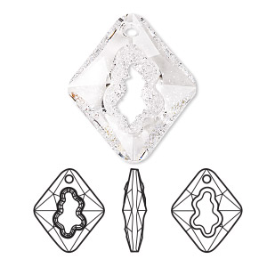 focal, swarovski crystals, crystal passions, crystal clear, 36mm faceted grow rhombus pendant (6926). sold individually.