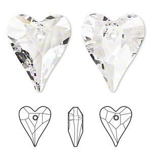 focal, swarovski crystals, crystal passions, crystal clear, 37x30mm faceted wild heart pendant (6240). sold individually.