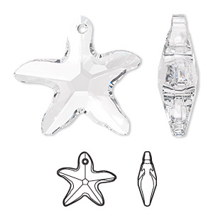 focal, swarovski crystals, crystal passions, crystal clear, 41x40mm faceted starfish pendant (6721). sold individually.