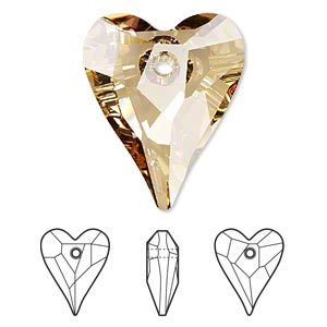 focal, swarovski crystals, crystal passions, crystal golden shadow, 37x30mm faceted wild heart pendant (6240). sold individually.