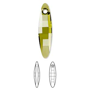focal, swarovski crystals, crystal passions, olivine, 32x8mm faceted ellipse pendant (6470). sold individually.