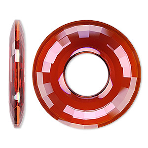 focal, swarovski crystals, crystal red magma, 38mm faceted round disk pendant (6039). sold per pkg of 9.