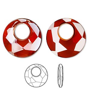 focal, swarovski crystals, crystal red magma, 38mm faceted victory pendant (6041). sold per pkg of 6.