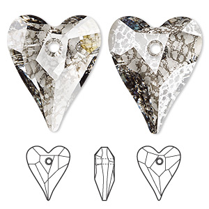 focal, swarovski crystals, crystal silver patina, 37x30mm faceted wild heart pendant (6240). sold per pkg of 6.