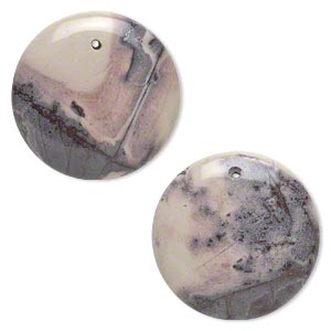 focal, terra rosa jasper (natural), 30mm puffed flat round, b grade, mohs hardness 6-1/2 to 7. sold per pkg of 2.