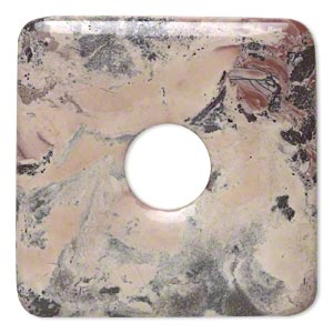 focal, terra rosa jasper (natural), 50x50mm square donut, b grade, mohs hardness 6-1/2 to 7. sold individually.