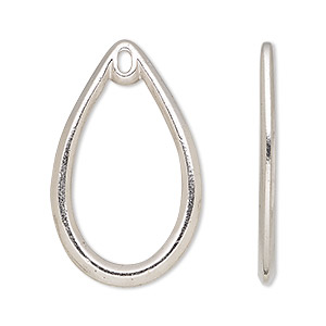focal, tierracast, rhodium-plated pewter (tin-based alloy), 34x20.5mm open teardrop with loop. sold per pkg of 2.