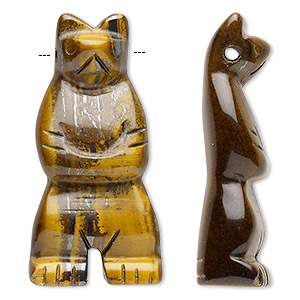 focal, tigereye (natural), 41x18mm-45x22mm hand-cut standing bear with 2mm hole, b grade, mohs hardness 7. sold individually.