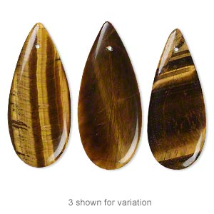 focal, tigereye (natural), 46x20x4mm top-drilled flat teardrop, b grade, mohs hardness 7. sold individually.