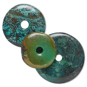 focal, turquoise (dyed / stabilized), 35-60mm round donut, c grade, mohs hardness 5 to 6. sold per pkg of 3.
