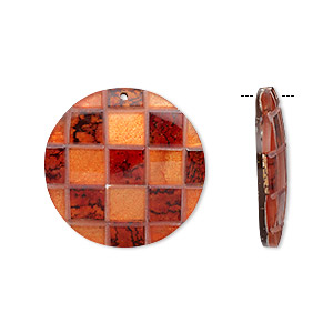focal, wood / capiz shell / resin / mahogany tree seed (natural / dyed / assembled), orange / red / clear, 42mm single-sided flat round with checkerboard pattern. sold individually.