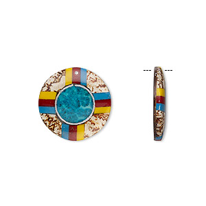 focal, wood / limestone / resin / aluminum / mahogany tree seed (natural / dyed / assembled), multicolored, 31mm single-sided flat round with lines. sold individually.