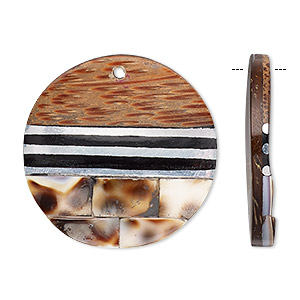 focal, wood / tiger cowrie shell / resin / aluminum (natural / assembled), black and clear, 30mm single-sided flat round with lines. sold individually.
