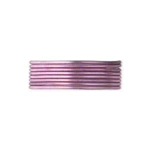 french wire, enamel-coated brass, lavender, 0.7mm tube. sold per pkg of (2) 19-1/2 inch strands.