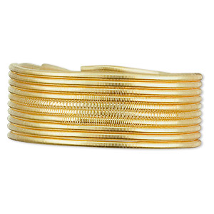 french wire, gold-plated copper, medium, 1mm. sold per 27- to 30-inch strand.