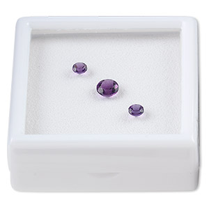 gem, amethyst (natural), dark, two 4mm and one 6mm faceted round, a grade, mohs hardness 7. sold per pkg of 3.