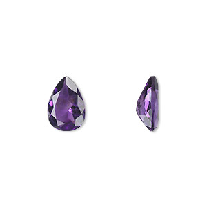 gem, amethyst (natural), light to medium, 10x7mm faceted pear, a grade, mohs hardness 7. sold individually.