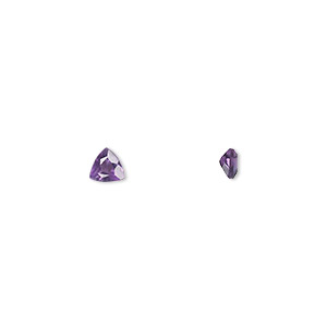 gem, amethyst (natural), light to medium, 4x4mm faceted triangle, a grade, mohs hardness 7. sold per pkg of 2.