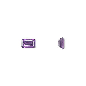 gem, amethyst (natural), light to medium, 6x4mm faceted emerald-cut, a grade, mohs hardness 7. sold individually.