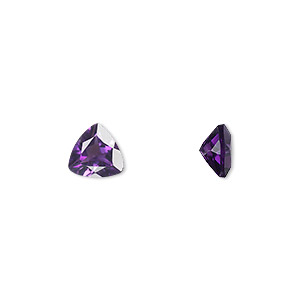 gem, amethyst (natural), light to medium, 7x7x7mm faceted triangle, a grade, mohs hardness 7. sold individually.
