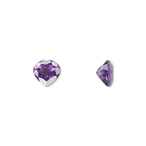 gem, amethyst (natural), light to medium, 8x8mm faceted heart, a grade, mohs hardness 7. sold individually.
