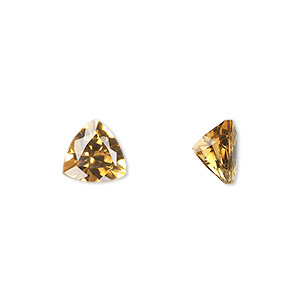 gem, citrine (heated), 8x8x8mm faceted triangle, a grade, mohs hardness 7. sold individually.