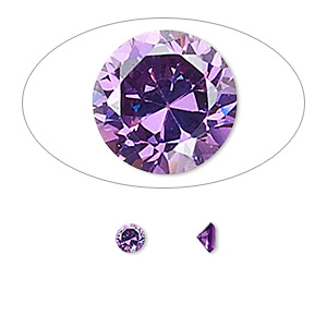 gem, cubic zirconia, amethyst purple, 4mm faceted round, mohs hardness 8-1/2. sold per pkg of 5.