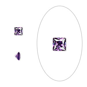 gem, cubic zirconia, amethyst purple, 4x4mm faceted square, mohs hardness 8-1/2. sold per pkg of 2.