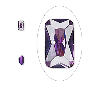 gem, cubic zirconia, amethyst purple, 5x3mm faceted emerald-cut, mohs hardness 8-1/2. sold per pkg of 5.