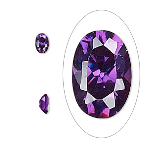 gem, cubic zirconia, amethyst purple, 6x4mm faceted oval, mohs hardness 8-1/2. sold per pkg of 2.
