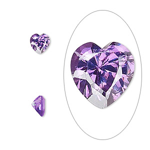 gem, cubic zirconia, amethyst purple, 6x6mm faceted heart, mohs hardness 8-1/2. sold per pkg of 2.