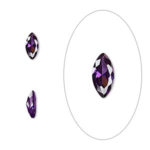 gem, cubic zirconia, amethyst purple, 8x4mm faceted marquise, mohs hardness 8-1/2. sold per pkg of 2.