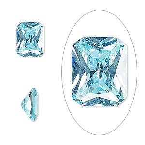 gem, cubic zirconia, aqua blue, 10x8mm faceted emerald-cut, mohs hardness 8-1/2. sold individually.