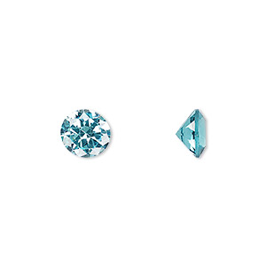 gem, cubic zirconia, aqua blue, 8mm faceted round, mohs hardness 8-1/2. sold individually.
