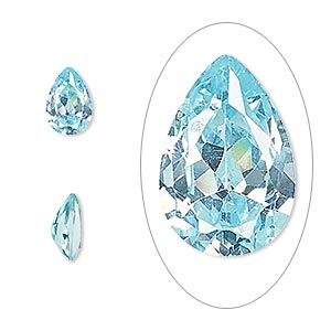 gem, cubic zirconia, aqua blue, 9x6mm faceted pear, mohs hardness 8-1/2. sold individually.