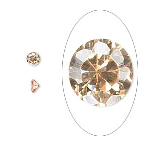 gem, cubic zirconia, champagne, 3mm faceted round, mohs hardness 8-1/2. sold per pkg of 10.