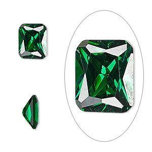 gem, cubic zirconia, emerald green, 10x8mm faceted emerald-cut, mohs hardness 8-1/2. sold individually.