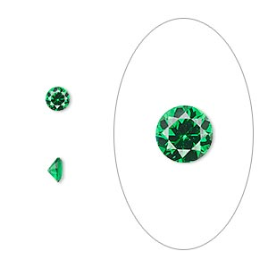 gem, cubic zirconia, emerald green, 4mm faceted round, mohs hardness 8-1/2. sold per pkg of 5.