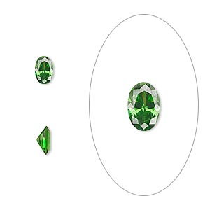 gem, cubic zirconia, emerald green, 6x4mm faceted oval, mohs hardness 8-1/2. sold per pkg of 2.