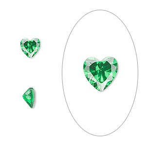gem, cubic zirconia, emerald green, 6x6mm faceted heart, mohs hardness 8-1/2. sold per pkg of 2.