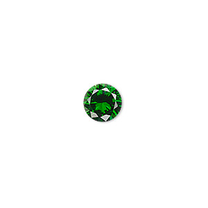 gem, cubic zirconia, emerald green, 8mm faceted round, mohs hardness 8-1/2. sold individually.