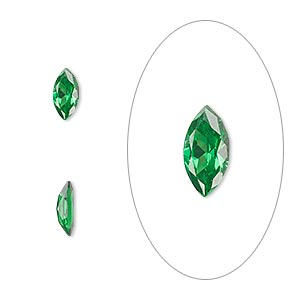 gem, cubic zirconia, emerald green, 8x4mm faceted marquise, mohs hardness 8-1/2. sold per pkg of 2.