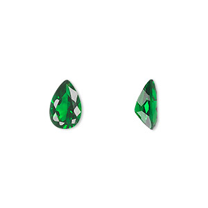 gem, cubic zirconia, emerald green, 9x6mm faceted pear, mohs hardness 8-1/2. sold individually.