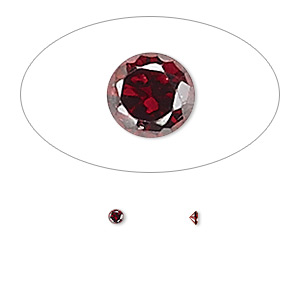 gem, cubic zirconia, garnet red, 2mm faceted round, mohs hardness 8-1/2. sold per pkg of 10.