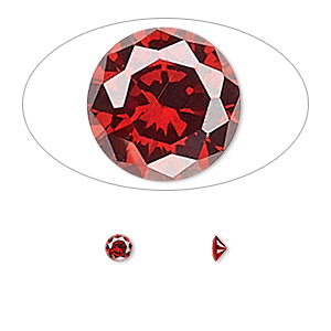 gem, cubic zirconia, garnet red, 3.5mm faceted round, mohs hardness 8-1/2. sold per pkg of 5.