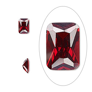 gem, cubic zirconia, garnet red, 7x5mm faceted emerald-cut, mohs hardness 8-1/2. sold per pkg of 2.