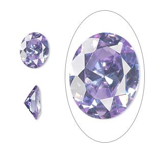 gem, cubic zirconia, lavender, 10x8mm faceted oval, mohs hardness 8-1/2. sold individually.