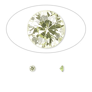 gem, cubic zirconia, peridot green, 3mm faceted round, mohs hardness 8-1/2. sold per pkg of 5.
